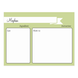 Tarjeta retra verde de la receta postales