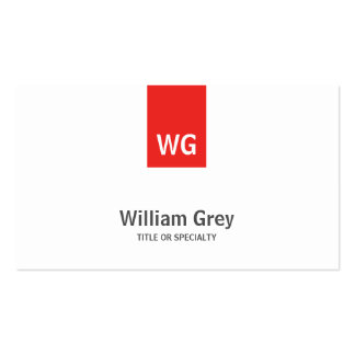 Tarjeta roja blanca del perfil del monograma minim tarjetas de visita