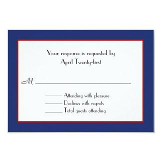 """Tarjeta roja, blanca, y azul de RSVP que se casa Invitación 3.5"""" X 5"""""""