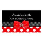 Tarjeta roja, blanca, y negra de la mamá del lunar tarjetas de negocios