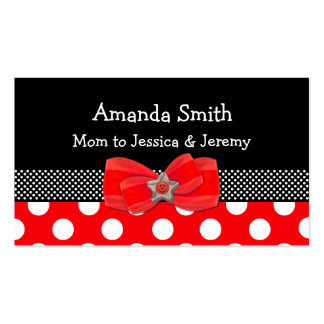 Tarjeta roja, blanca, y negra de la mamá del lunar tarjetas de visita