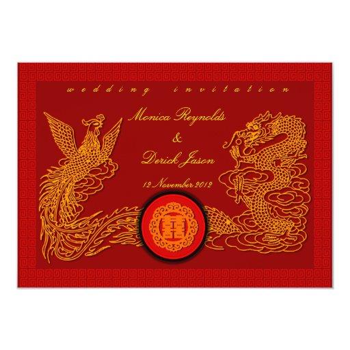 Tarjeta roja china de la invitación del boda por