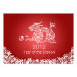 Tarjeta roja china feliz del dragón del Año Nuevo  Comunicados Personales