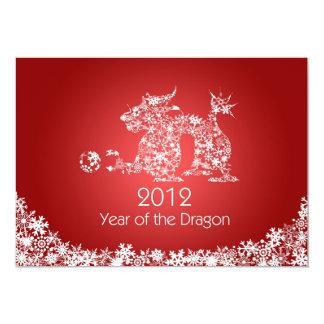 Tarjeta roja china feliz del dragón del Año Nuevo Invitación 12,7 X 17,8 Cm
