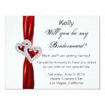 Tarjeta roja de la dama de honor del boda del invitación 10,8 x 13,9 cm