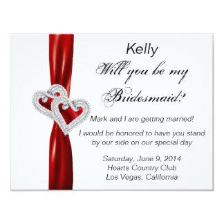 Tarjeta roja de la dama de honor del boda del invitación