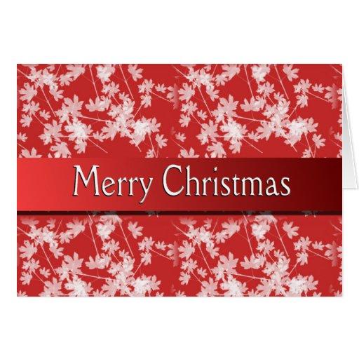 Tarjeta roja de la flor de las Felices Navidad