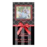 Tarjeta roja de la foto de la cinta del damasco ne tarjeta personal