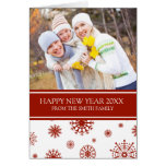 Tarjeta roja de la foto de la Feliz Año Nuevo de l