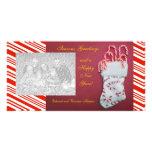Tarjeta roja de la foto de la raya del caramelo tarjeta fotografica personalizada
