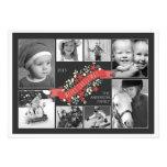 Tarjeta roja de la foto de las Felices Navidad 8 d