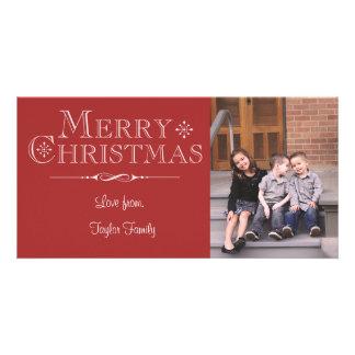 Tarjeta roja de la foto de las Felices Navidad Tarjeta Personal