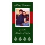 Tarjeta roja de la foto de los árboles de navidad  tarjetas fotográficas personalizadas
