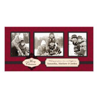 Tarjeta roja de la foto del brocado del navidad tarjetas con fotos personalizadas