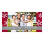 Tarjeta roja de la foto del copo de nieve tarjetas fotograficas