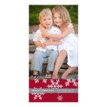 Tarjeta roja de la foto del copo de nieve tarjetas con fotos personalizadas
