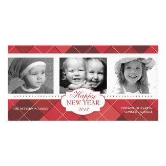 Tarjeta roja de la foto del día de fiesta de Argyl Tarjeta Fotografica