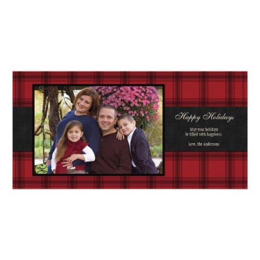 Tarjeta roja de la foto del día de fiesta de la te tarjeta fotografica