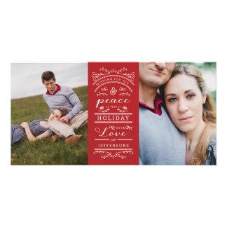Tarjeta roja de la foto del navidad blanco de la tarjeta con foto personalizada