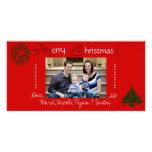 Tarjeta roja de la foto del navidad de la familia tarjetas fotográficas