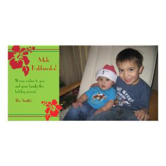Tarjeta roja de la foto del navidad del día de fie plantilla para tarjeta de foto