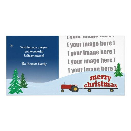 Tarjeta roja de la foto del navidad del tractor plantilla para tarjeta de foto