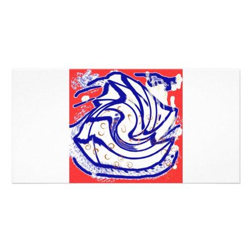 Tarjeta roja de la foto del remolino de los pescad tarjetas personales con fotos