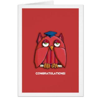 Tarjeta roja de la graduación de la enhorabuena de
