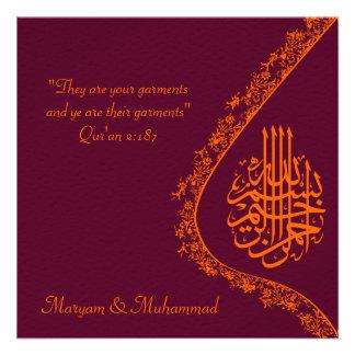 Tarjeta roja de la invitación de la boda islámica