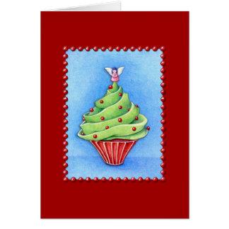 Tarjeta roja de la magdalena del árbol de navidad