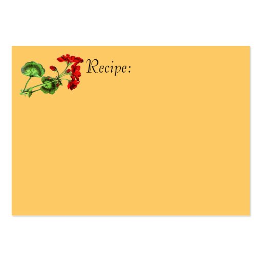 Tarjeta roja de la receta de la flor tarjetas de visita grandes