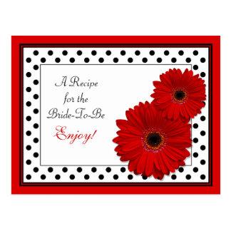 Tarjeta roja de la receta de la margarita del tarjeta postal