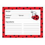 Tarjeta roja de la receta de la mariquita postal