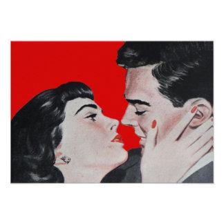 Tarjeta roja de la respuesta del beso del vintage comunicado personal