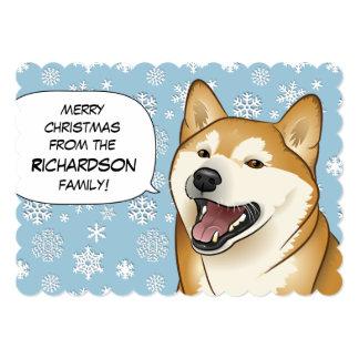 """Tarjeta roja de las Felices Navidad de Shiba Inu Invitación 5"""" X 7"""""""