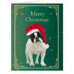 Tarjeta roja de las Felices Navidad del perro del
