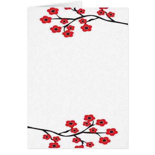 Tarjeta roja de las flores de cerezo