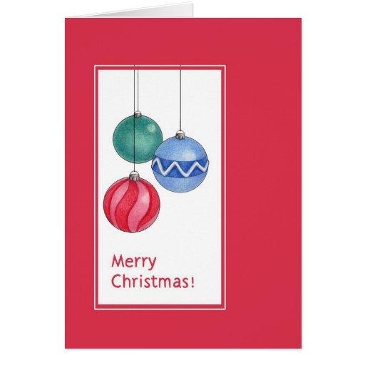 Tarjeta roja de los ornamentos del navidad