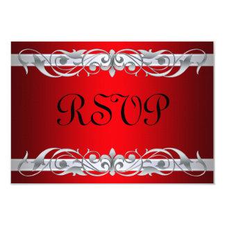 "Tarjeta roja de RSVP de la grande duquesa voluta Invitación 3.5"" X 5"""