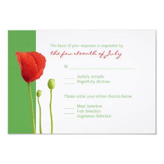 Tarjeta roja de RSVP de la manzana de la amapola Invitación 8,9 X 12,7 Cm