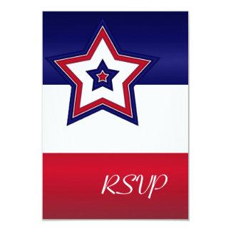 """Tarjeta roja de RSVP de las estrellas blancas y Invitación 3.5"""" X 5"""""""