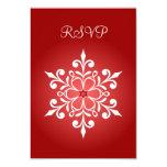 Tarjeta roja de RSVP del copo de nieve que se casa Invitación 8,9 X 12,7 Cm