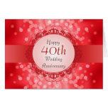 Tarjeta roja de rubíes del aniversario de Bokeh 40
