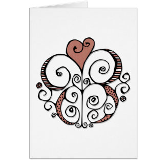 Tarjeta roja del adorno del corazón