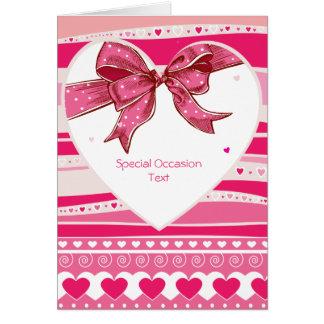 Tarjeta roja del amor de los corazones de Valetine