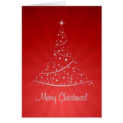 Tarjeta roja del árbol de navidad