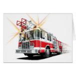 Tarjeta roja del coche de bomberos de los niños