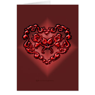 Tarjeta roja del corazón de la tinta