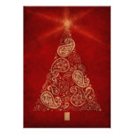 Tarjeta roja del día de fiesta con el árbol de nav comunicado personal