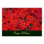 Tarjeta roja del día de fiesta de los Poinsettias